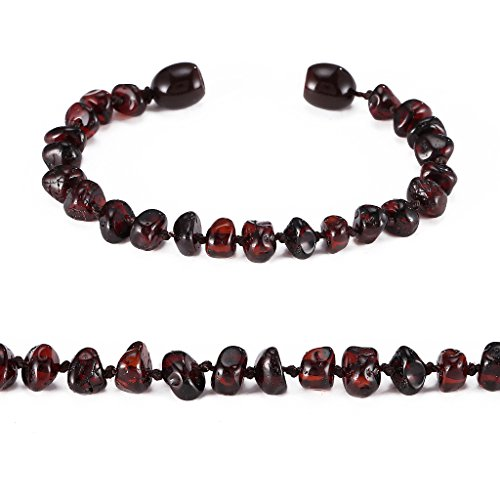 Baltic Amber Bracelet/Anklet(Unisex)(Cherry) - 18cm long - Handcrafted, Lab-Tested, Authentic Amber