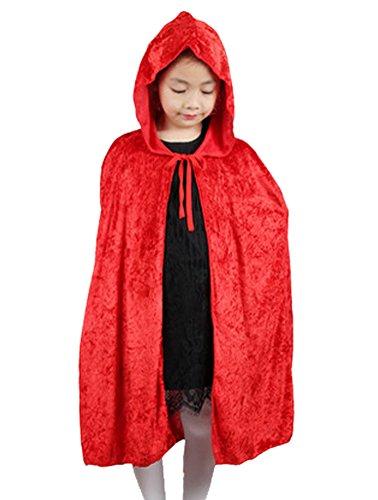 DELEY Enfants de Costume de Halloween les Filles de Velours à Capuchon Manteau Cape Mascarade Cosplay Accessoire Rouge