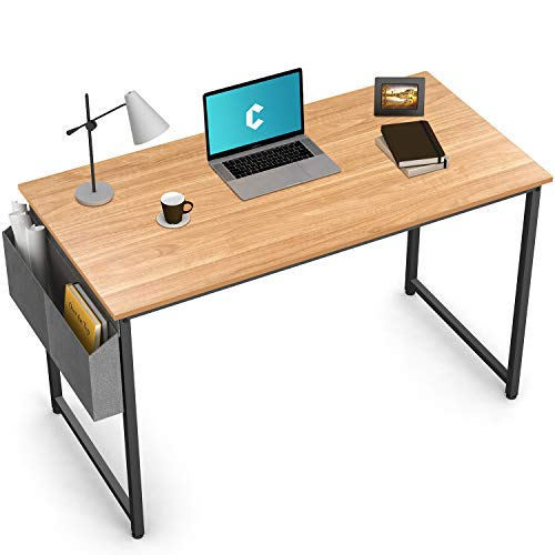 Cubiker Writing Computer Desk 39' Home Office Study Desk, Modern Simple Style Laptop Table with Storage Bag, Natural
