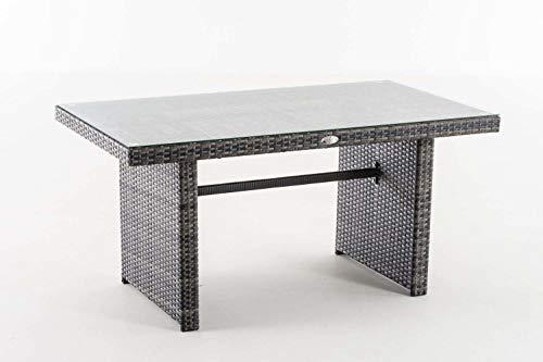 CLP Polyrattan-Gartentisch FISOLO mit Einer Tischplatte aus Glas I Wetterbeständiger Tisch aus Polyrattan Grau Meliert - 8