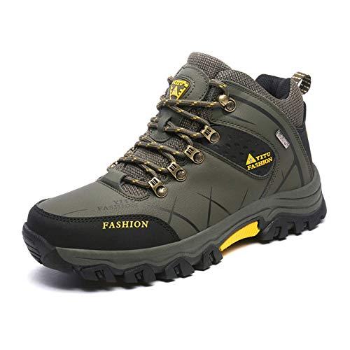 Shoe - Zapatillas de senderismo para exteriores, ligeras, impermeables, transpirables, antideslizantes, estilo informal, para correr, color verde militar 45