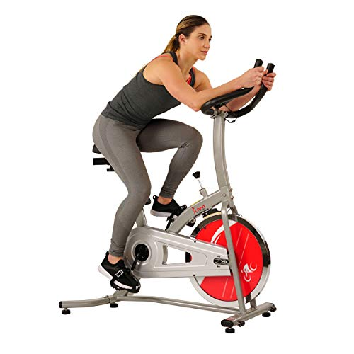 Sunny Health & Fitness Indoor Exercise Stationary Bike with Digital Monitor, 22 LB Chromed Flywheel (Felt Resistance)