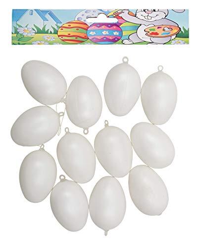 Idena 734581 - Kunststoffeier, 12er Pack, Größe 6 cm, Weiß, Eier, Ostern, Basteln, Dekoration, Osterei, Osterhase, Nest