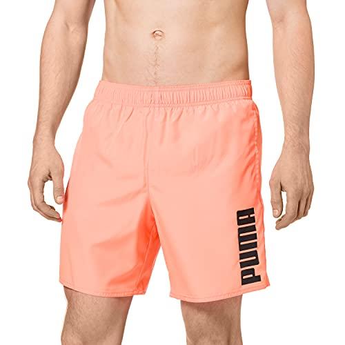 PUMA Mens Men's Mid Shorts Swim Trunks, orange, Large