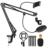 Microphone Stand, Magicfun Mic Boom Arm Desk Adjustable Suspension Boom Scissor Arm for Blue Yeti Snowball & Other Mics for Professional Streaming, Voice-Over, Recording, Games