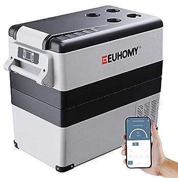 Euhomy Car Refrigerator 55Liter 59qt  RV Refrigerator with 12/24V DC & 120-240V AC Portable refrigerator freezer fridge cooler For Car RV Camping Travel Fishing Outdoor or Home Use Gray .