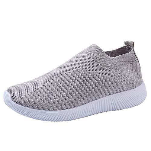 YWLINK Damen Socken Schuhe Outdoor Schuhe Freizeit Slip On Bequeme Sohlen Sports Licht Atmungsaktiv Mesh Sneakers Laufschuhe Turnschuhe Fitnessschuhe Bequeme Schuhe(Grau,43 EU)