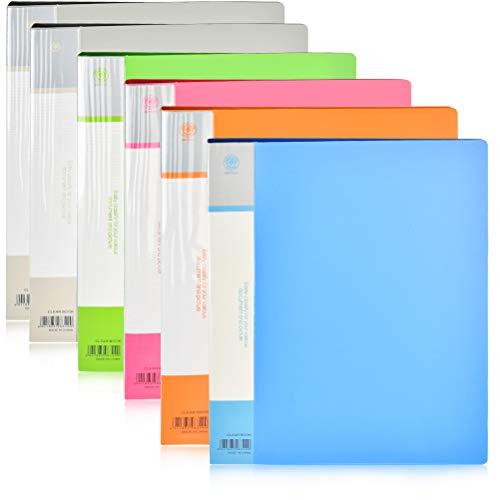 6PCS 30 scomparti A4 cartella progetti per presentazioni di libri A4 confezione da 30 tasche -Blu, Arancione, Grigio, Verde