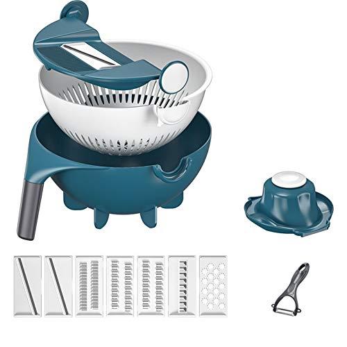 Alavo Nueve en un Cortador de Vegetales multifuncionales, Cesta de Drenaje, Gadgets de Cocina domésticos,Azul,2000ml