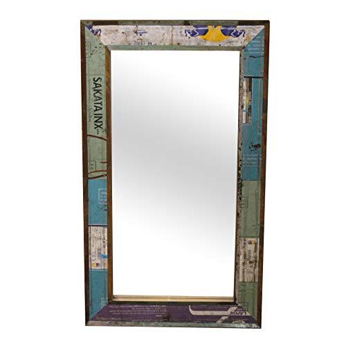 Loft24 A/S Wandspiegel Hängespiegel Spiegel Flur Diele Garderobe Badezimmer Mangoholz Recycling Blech Shabby Chic 64 x 4 x 110 cm