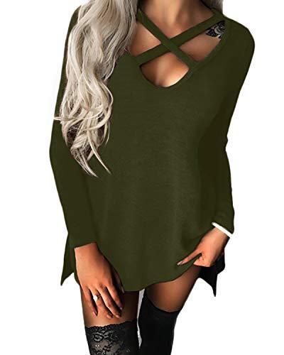 YOINS Donna Camicia Casuale Camicetta Collo a V Manica Lunga Cime Maglietta Croce T-Shirt Verde Militare L/EU44
