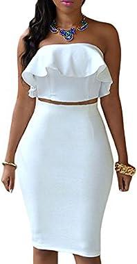 Eiffel Women's Off Shoulder Ruffle Crop Top Pencil Skirt Dress Two-Piece Set