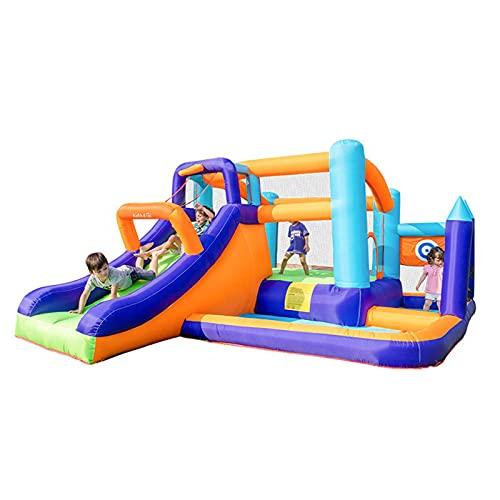 FYHpet Castillo Inflable Inflable Trampolín para niños Pequeño trampolín al Aire Libre con tobogán, Rebote, Piscina de Bola del océano, Anillo de Baloncesto, Escalada