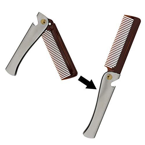 Bärbar hopfällbar ficka rostfritt stål kam skäggkam skäggvård hårvård styling verktyg flasköppnare