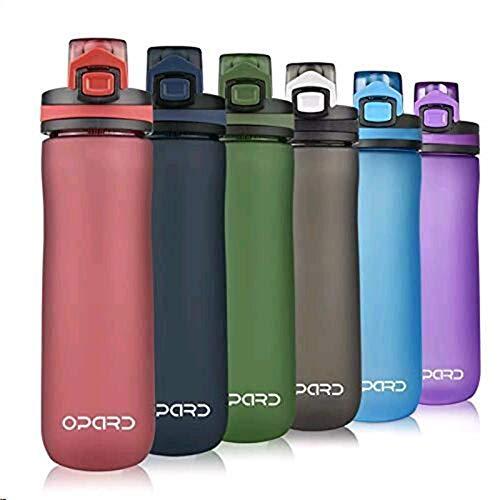 Opard Sports Water Bottle, 600ml BPA Free Non -tossico Tritan Plastic Water Bottle con Leak Proof Flip Top Lid per Gym Yoga Fitness Camping (Rosso, 600ml)