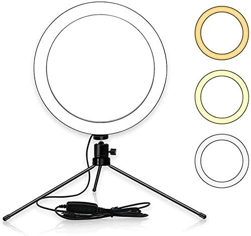 YQLWX Anello Luce 15,2 cm LED Anello Luce con Treppiede Stand 3200-5600K 3 Colori 10 Livelli Luminosità Regolabile per Riprese Video (Colore: Nero, Dimensioni: 15,2 cm)