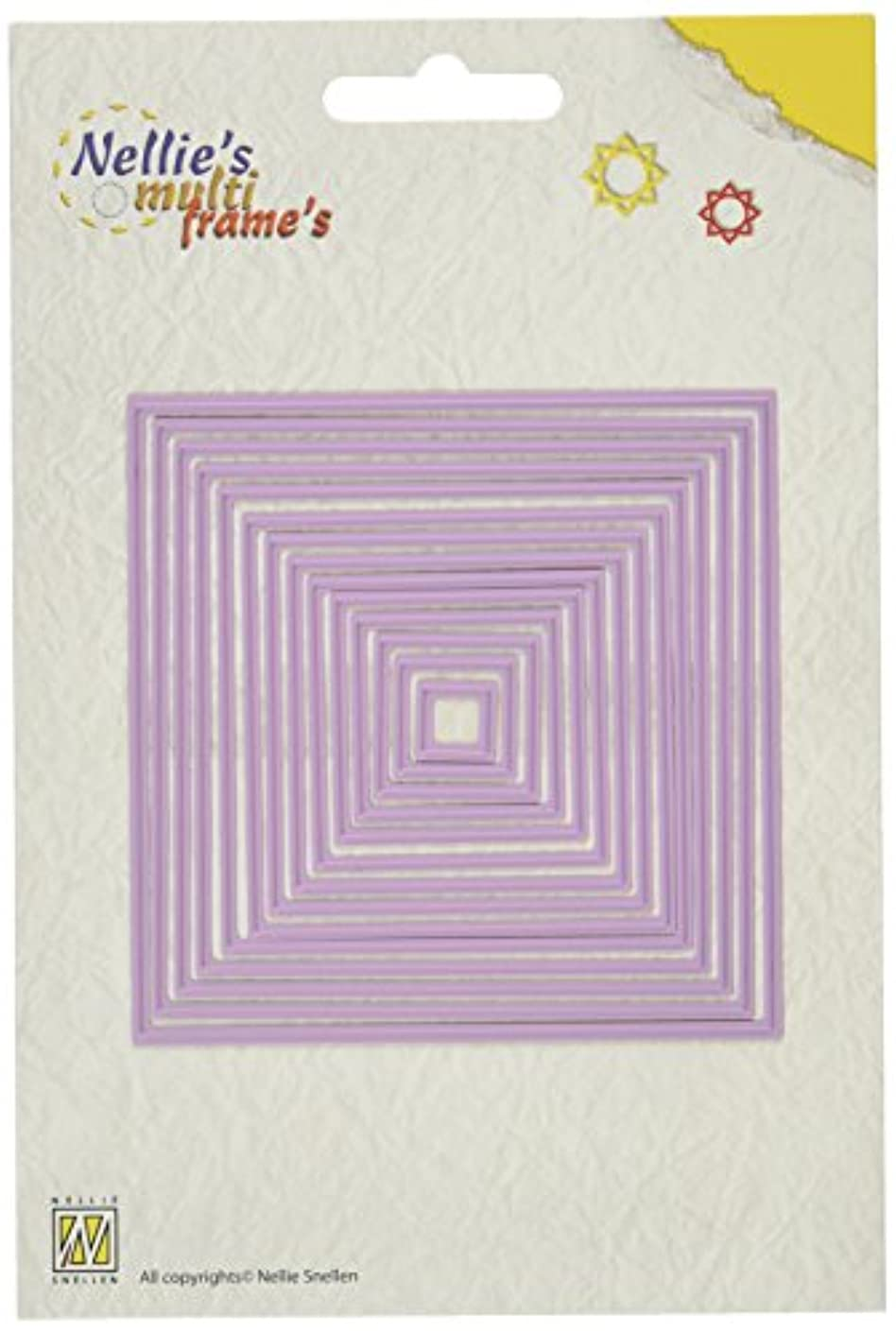 Ecstasy Crafts Nellie's Choice Multi Frame Dies, Straight Square, 14-Pack