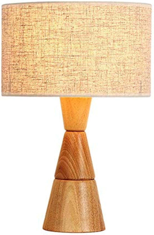 Schreibtischlampe Moderne Einfache Kreative Drei Kegel DIY Design Augenpflege Nachttischlampe Leselampe Leinen Stoff Schatten Naturkautschuk Holz E27 Tischlampe