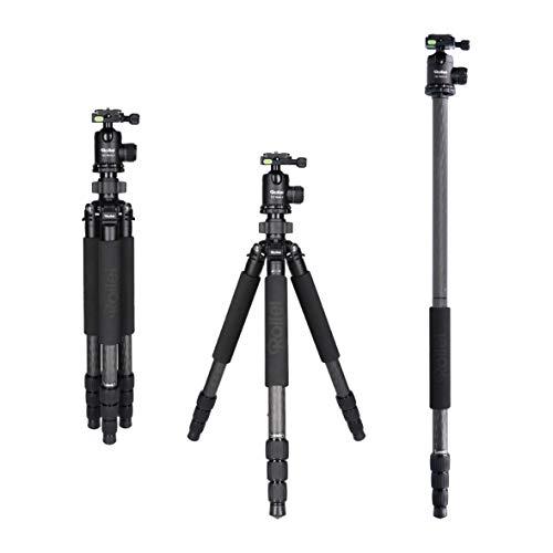Rollei Rock Solid incl. kogelkop T7S Carbon Camera statief met 30 kg draagkracht, ideaal voor reizen en natuurfotografie - geschikt voor spiegelreflex-(DSLR) en systeemcamera's (DSLM), zwart