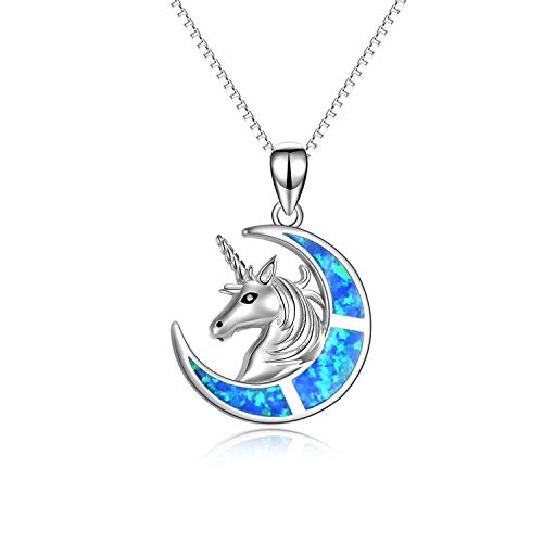 YFN Collana di Unicorno Creata Gioielli con Ciondolo Opale in Argento Sterling 925 Regalo di Unicorno per Donne Ragazze (Blu)