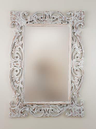 Rococo Espejo Decorativo de Madera Tanduk de 70x100cm en Blanco decapado