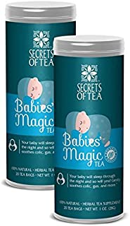 Secrets of Tea Baby Colic Babies' Magic Tea - Organic, Natural, Safe - Calming & Soothing Relief for Baby Acid Reflux, Gas, Colic - Your Baby Will Sleep Thru The Night Guaranteed - Pack of 2
