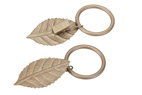 Gardinenring/Ring mit Dekoklammer Blatt, matt Gold, Set 10 Stück