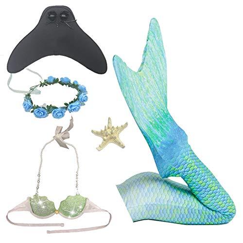 Meisjes Zwembare Set,Zeemeermin Staart Badmode Badpak Bikini Set,met Monofin Bloem Hoofdband Zwemmen en Kaartuitgifte,voor 3-12y