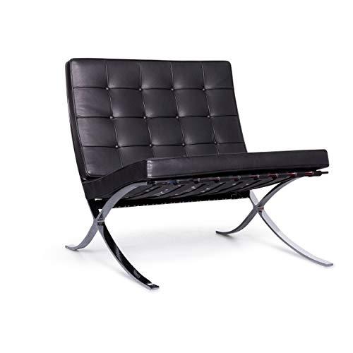 Knoll International Barcelona Chair Designer Leather Armchair Black Genuine Leather Chair