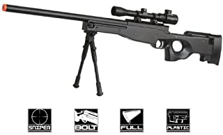 BBTac Airsoft Sniper Rifle Bolt Action Gun Full Metal Spring Loaded with Scope and Bipod High FPS