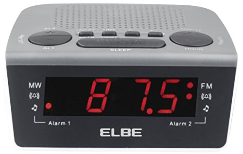 Elbe CR-932 Radio-despertador digital con radio am/fm, radio analógica am/fm, alarma con radio o acústica, memoria 20 emisoras, función snooze y sleep, pantalla LED 0,6'', color blanco negro