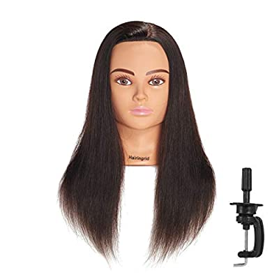 "Hairingrid Mannequin Head 20""-22"" 100% Human Hair Hairdresser Cosmetology Mannequin Manikin Training Head Hair and Free Clamp Holder"