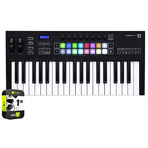 Novation AMS-LAUNCHKEY-37-MK3 Launchkey 37 MK3 MIDI Keyboard Controller for Ableton Live Bundle with 1 Year Extended Protection Plan