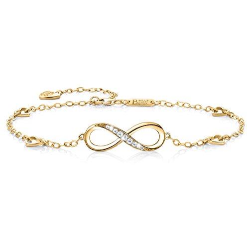 Billie Bijoux Pulsera de plata esterlina Mujer Símbolo Amor Infinito Brazalete de mujer ajustable regalo pulsera de tobillo ideal el día de San Valentín (oro)
