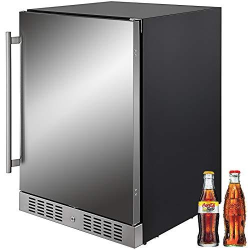 VEVOR 24'' Built-in Beverage Cooler 5.5 cu.ft. Small Reversible Door Refrigerator 142 Can Beer Fridge for Home Bar Office Commercial Outdoor Indoor Use, 150L, Black & Silver