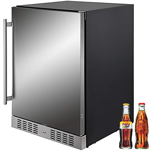 VBENLEM 24''Built-in Stainless Steel Beverage Cooler 5.5 cu.ft. Soda & Beer Small Reversible Door Refrigerator 142 Can Fridge for Home Bar Office Commercial Indoor Use (150L,Black & Silver)