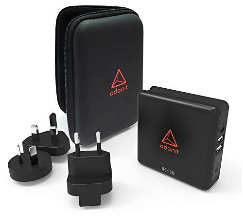 Adonit kabellose Qi wireless Powerbank 6700mAh mit Reiseadapter [Wandladefunktion, internationalen Adapter-Set für EU, UK, US, AU und Asien, induktive Ladestation] - ADWTC