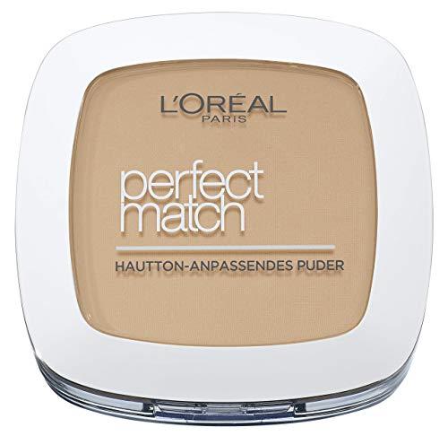 L'Oréal Paris Perfect Match Compact Puder N4 Golden Beige/Make-Up Puder mit individueller Deckkraft und LSF für jeden Hauttyp / 1 x 9 ml