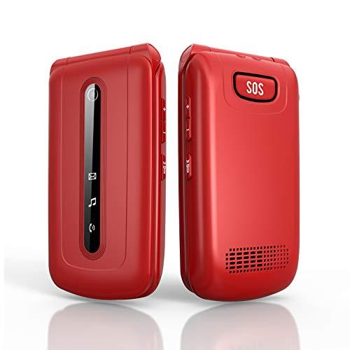 Ukuu 3G Teléfono Móvil con Tapa para Personas Mayores Dual SIM, Pantalla de 2,4 Pulgadas Teclas Grandes con SOS Botón, Cámara, Radio FM, Batería de 900 mAh Fácil de Usar para Ancianos - Rojo