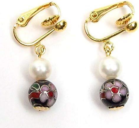 White Pearl & Black Cloisonne 14K Clip On Earrings FS-232
