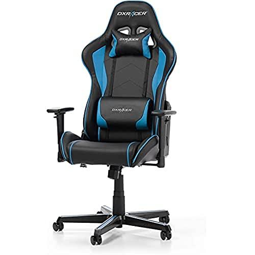 DXRacer Formula F08 Gaming Chair, Black/Blue, Piel sintética, Negro/Azul, 67 x 67 x 128 cm