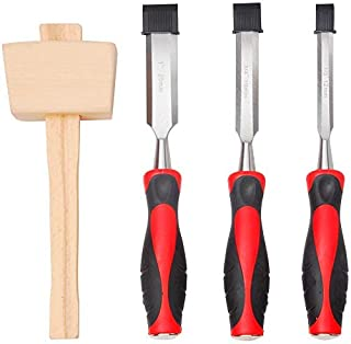 Hi-Spec 4 Piece Wood Chisel Set including 3 Hardened Steel Chisels (1/2