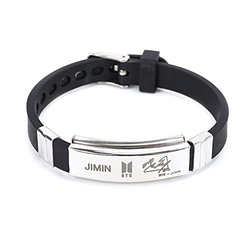 Yuxareen Kpop BTS Bangtan Boys Hip Hop Team Stainless Steel Cuff Bangle Bracelet Wristband Bracelets (JIMIN)