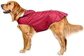Bwiv Impermeable Chubasquero para Perros Grandes con Capucha Ajustable Ultra-Light Transpirable Impermeable para Mascotas Perros con Banda Reflectante Talla 3XL-5XL Rojo 3XL