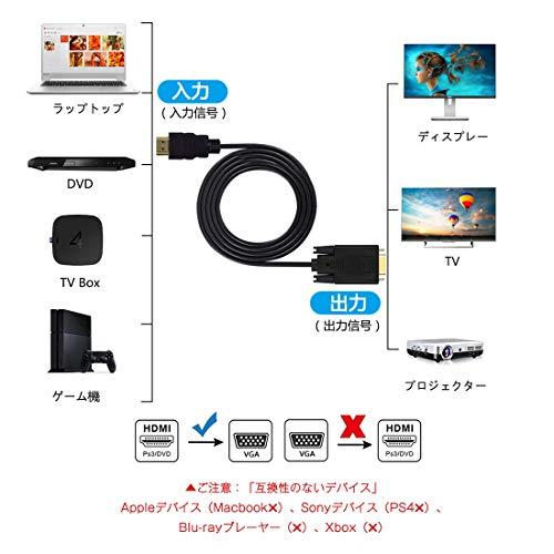 『HDMI to VGA変換ケーブル金メッキ1080P HDMIオスto VGAオスアクティブなビデオ変換コード( 6フィート/ 1.8メートル)』の2枚目の画像
