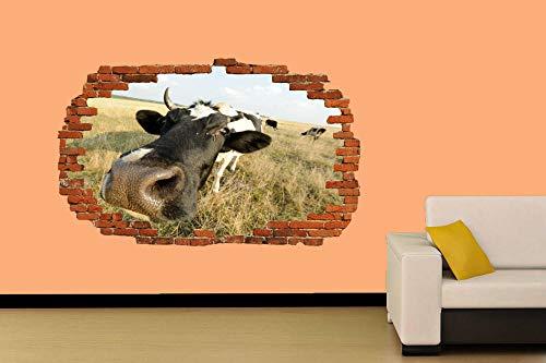 Pegatinas de pared Etiqueta de la pared divertida vaca granja vida etiqueta de la pared decoración de la habitación calcomanía mural 80 * 120CM