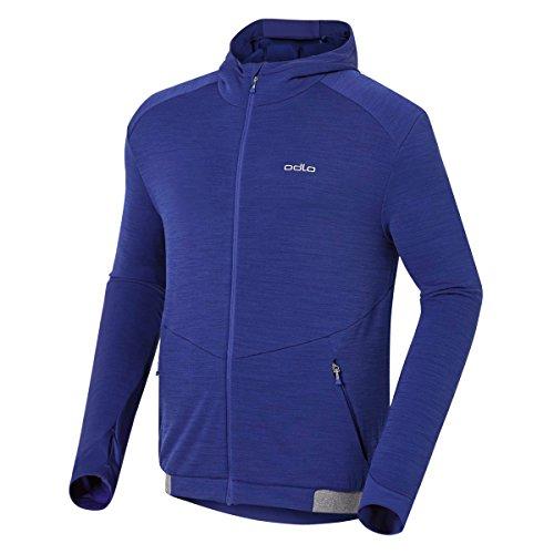 Odlo Sweat-Shirt à Capuche Midlayer pour Homme Full Zip Aeolus XL Bleu - Indigo