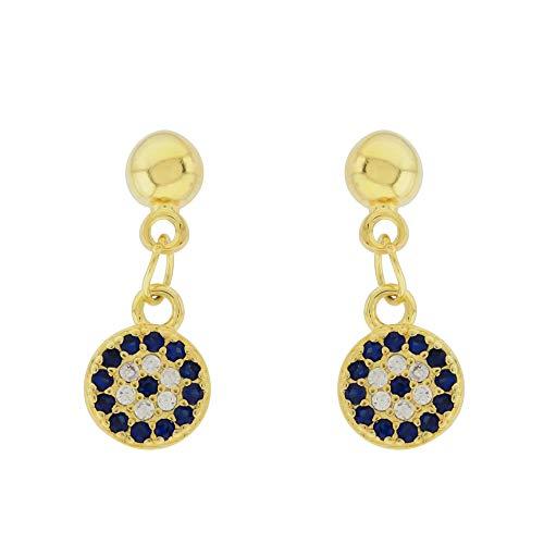 Savile Pendientes para Mujer Niña Plata de Ley 925 Recubiertos de Oro 18k bolas piedras de Ojo Turco Largo Azul con Circonita Cúbica Juvenil Elegante