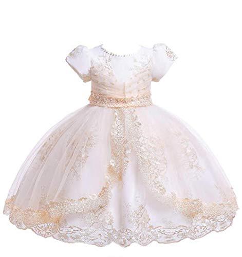 GGCC Haute Couture Kleid Mädchen Perle Stickerei mehrschichtige Prinzessin Pettiskirt Party, Champagne_11-12_Years