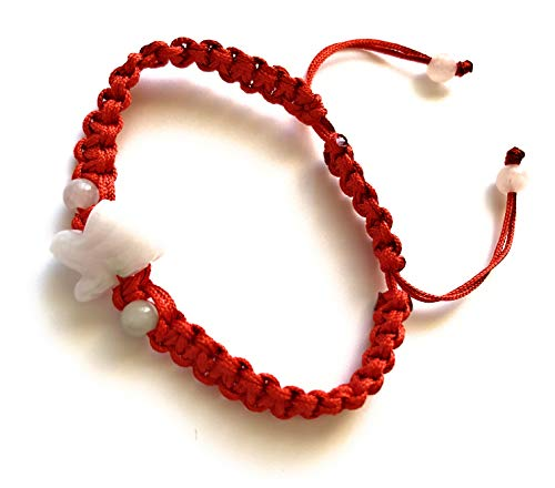 Unik22 Jade Rabbit Bracelet, Red Adjustable String, Jade Zodiac Jade Animal Bracelet, Lucky FENGSHUI Bracelet, Unisex